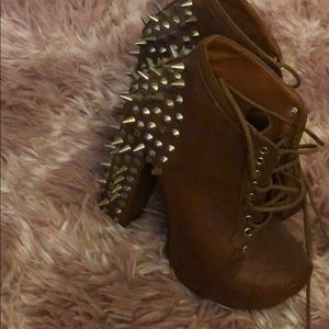 Brown spiked booties